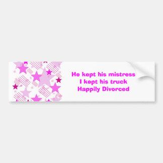 Barras y estrellas rosadas divorciadas feliz pegatina para auto