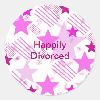 Barras y estrellas rosadas divorciadas feliz pegatina redonda