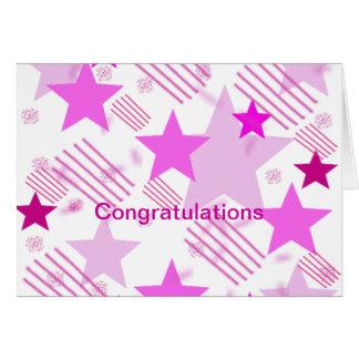 Barras y estrellas rosadas divorciadas feliz tarjeta de felicitación