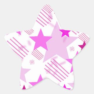 Barras y estrellas rosadas pegatina en forma de estrella