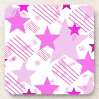 Barras y estrellas rosadas posavasos de bebida