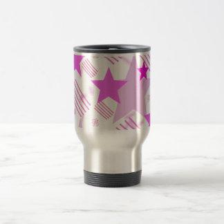 Barras y estrellas rosadas tazas de café