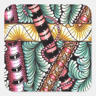 barras zen-doodled img001 pegatina cuadrada