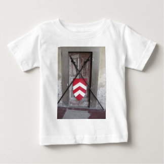 Barred door . Medieval crossed spears and shield Baby T-Shirt