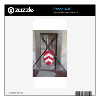 Barred door . Medieval crossed spears and shield iPhone 4 Skin