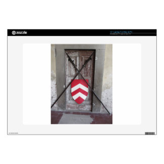 Barred door . Medieval crossed spears and shield Laptop Decals