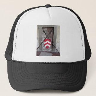 Barred door . Medieval crossed spears and shield Trucker Hat