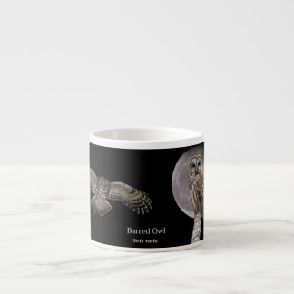 Barred Owl against a full moon mug Espresso Cups