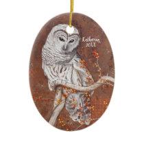 Barred Owl and Berries Wildlife Art Ceramic Ornament