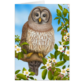 Barred Owl in the Garden Greeting Card