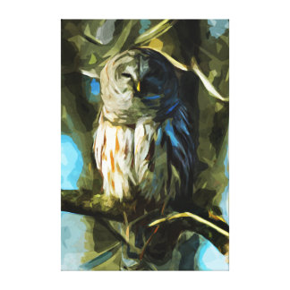Barred Owl in Tree Abstract Impressionism Canvas Prints