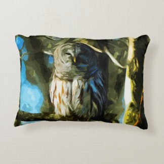 Barred Owl in Tree Abstract Impressionism Decorative Pillow
