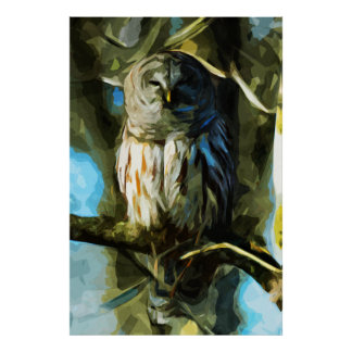 Barred Owl in Tree Abstract Impressionism Print