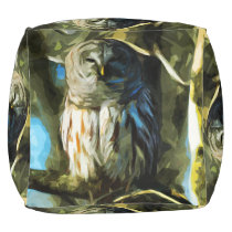 Barred Owl in Tree Abstract Impressionism Pouf