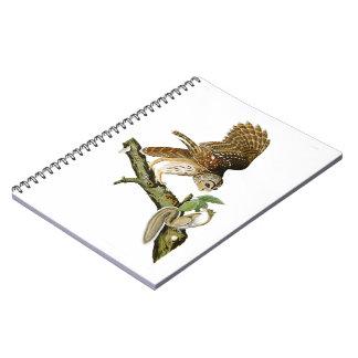 Barred Owl John James Audubon Birds of America Spiral Notebook
