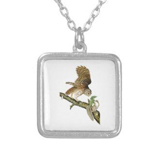 Barred Owl John James Audubon Birds of America Square Pendant Necklace