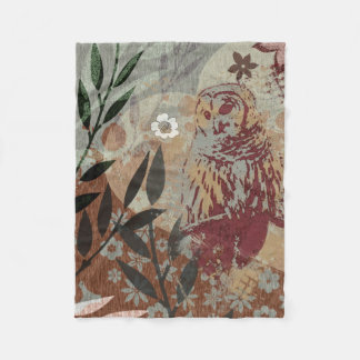 Barred Owl Nature Heart Leaves Flowers Tapestry Fleece Blanket