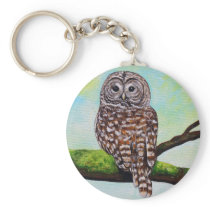 Barred Owl Painting Keychain
