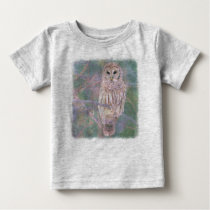 Barred Owl Pastel Oilpainting Baby T-Shirt