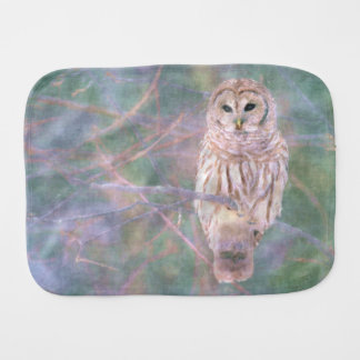 Barred Owl Pastel Oilpainting Burp Cloth