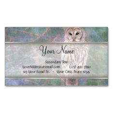 Barred Owl Pastel Oilpainting Magnetic Business Card at Zazzle