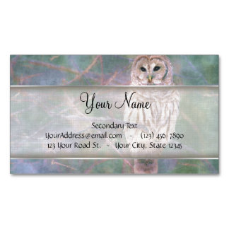 Barred Owl Pastel Oilpainting Magnetic Business Card