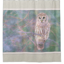 Barred Owl Pastel Oilpainting Shower Curtain