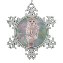 Barred Owl Pastel Oilpainting Snowflake Pewter Christmas Ornament