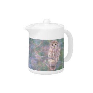 Barred Owl Pastel Oilpainting Teapot