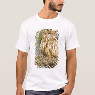 Barred Owl (Strix varia) perched in cypress tree T-Shirt