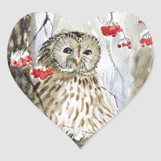 Barred Owl watercolor painting Heart Sticker