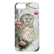 Barred Owl watercolor painting iPhone 8/7 Case