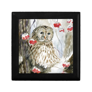 Barred Owl watercolor painting Jewelry Box