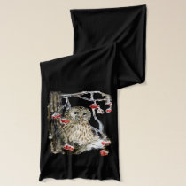 Barred owl watercolor scarf