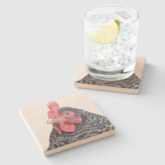 Barred Plymouth Rock Hen Stone Beverage Coaster