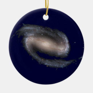 Barred Spiral Galaxy Glowing Space Dark Blue Double-Sided Ceramic Round Christmas Ornament