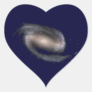 Barred Spiral Galaxy Glowing Space Dark Blue Heart Sticker