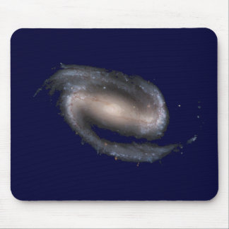 Barred Spiral Galaxy Glowing Space Dark Blue Mouse Pad
