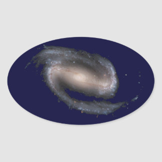 Barred Spiral Galaxy Glowing Space Dark Blue Oval Sticker