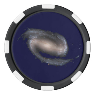 Barred Spiral Galaxy Glowing Space Dark Blue Set Of Poker Chips