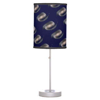 Barred Spiral Galaxy Glowing Space Dark Blue Table Lamp