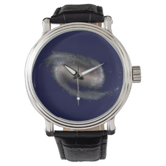 Barred Spiral Galaxy Glowing Space Dark Blue Watches