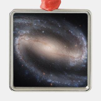 Barred Spiral Galaxy NGC 1300 Square Metal Christmas Ornament