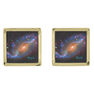 Barred Spiral Galaxy NGC 1672 Astronomy Picture Cufflinks