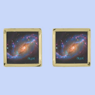 Barred Spiral Galaxy NGC 1672 Astronomy Picture Cuff Links