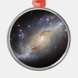 Barred Spiral Galaxy NGC 1672 Constellation Dorado Metal Ornament