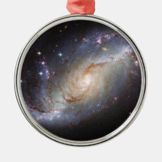 Barred Spiral Galaxy NGC 1672 Constellation Dorado Round Metal Christmas Ornament