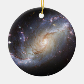 Barred Spiral Galaxy NGC 1672 Constellation Dorado Double-Sided Ceramic Round Christmas Ornament
