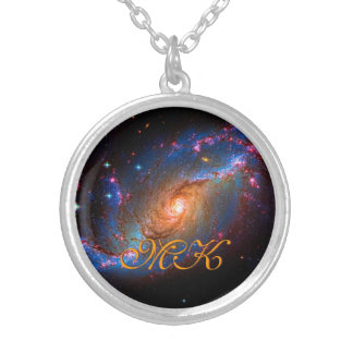Barred Spiral Galaxy NGC 1672 outer space picture Silver Plated Necklace