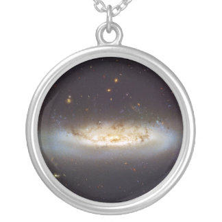Barred Spiral Galaxy NGC 4522 Virgo Galaxy Cluster Silver Plated Necklace